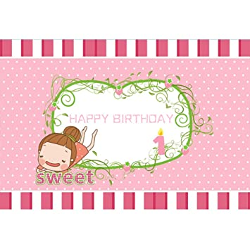 OERJU 2,7x1,8m Feliz cumpleaños Fondo Niña de Dibujos ...