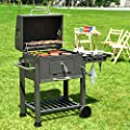 Giantex BBQ Charcoal Grill Portable Barbecue Grill for Lawn Picnic Backyard Balcony Outdoor Cooking with Wheels, Thermometer, Ash Tray, Air Outlet from GIANTEX