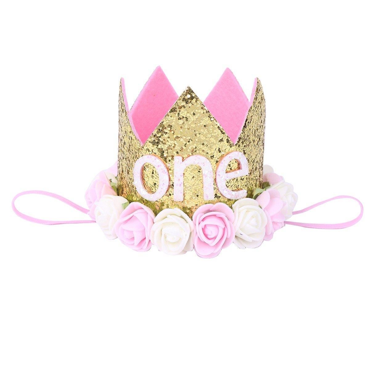 Tiaobug Mädchen Baby Haarband Stirnbänder Blumen Krone für 1 Jahre Geburtstag Prinzessin Haarschmuck