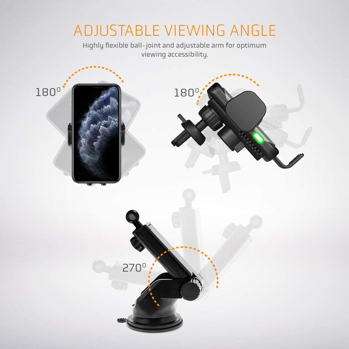 Automatic Clamping Mount Vettora Wireless Car Charger 10W//7.5W Qi Fast Charging Car Phone Holder,Windshield Dashboard Air Vent Compatible with Xs//Max//X//XR//8// Note 9// S9// S8