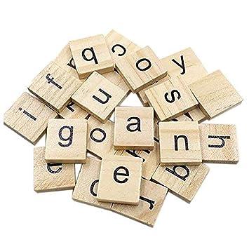 Ogquaton 100 piezas de madera Scrabble Azulejos artesanía ...