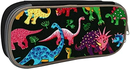 Estuche de lápices de gran capacidad para danza de dinosaurios con doble cremallera Gran espacio de almacenamiento Estacionario, bolsa de cosméticos funcional de usos múltiples: Amazon.es: Oficina y papelería