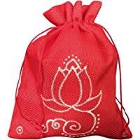 Rawbags ' Lotus-Hand Drawn ' - Red colour Potly& Gift Bag