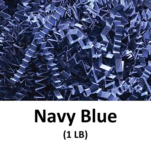Crinkle Cut Paper Shred Filler (1 LB) for Gift Wrapping & Basket Filling - Navy Blue | MagicWater Supply by MagicWater Supply
