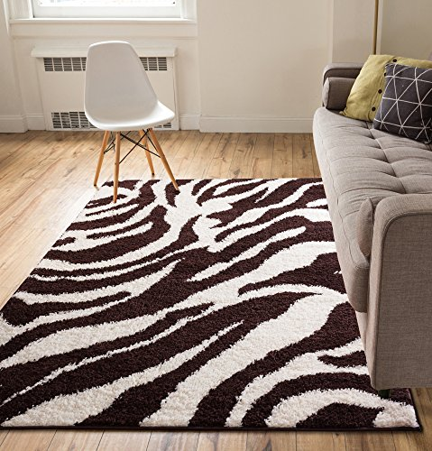 Modern Animal Print 5x7 ( 5' x 7'2'' ) Area Rug Shag Zebra Brown Ivory Plush Easy Care Thick Soft Plush Living Room (Ivory Zebra)