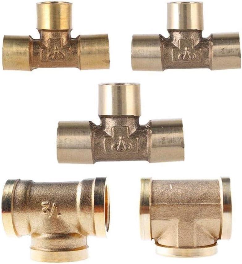BSP Filetage Femelle en Laiton Tuyau Adaptateur Raccord Connecteur for Coupler Air Eau Fuel Gas Thread Specification : 1//2 ling 3 Way Tee T Type De 1//8 1//4 3//8 1//2 3//4