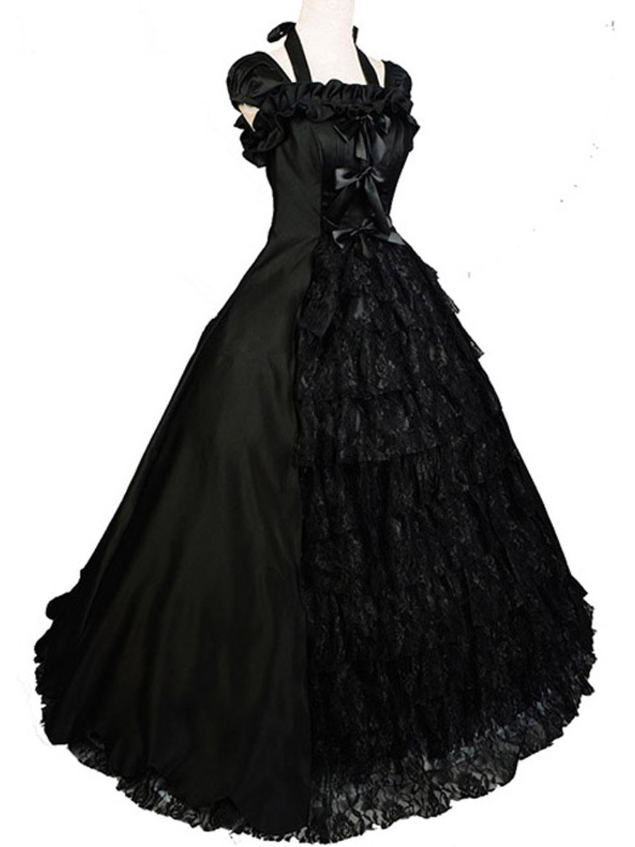 Wraith of East Black Wedding Dress Gown Gothic Lolita Victorian Satin Halloween L