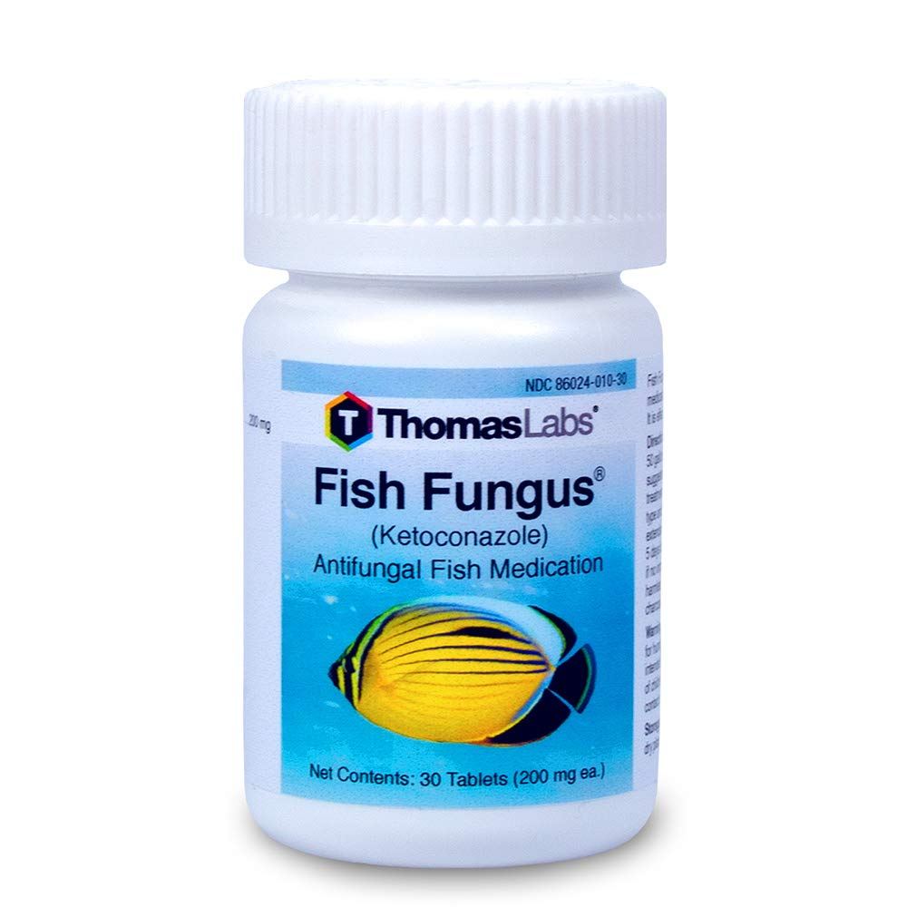 Thomas Labs Fish Fungus - Antifungal Fish Medication - Ketoconazole for Fish - For Fungal Infections in Fish - (200 mg, 30 Tablets)