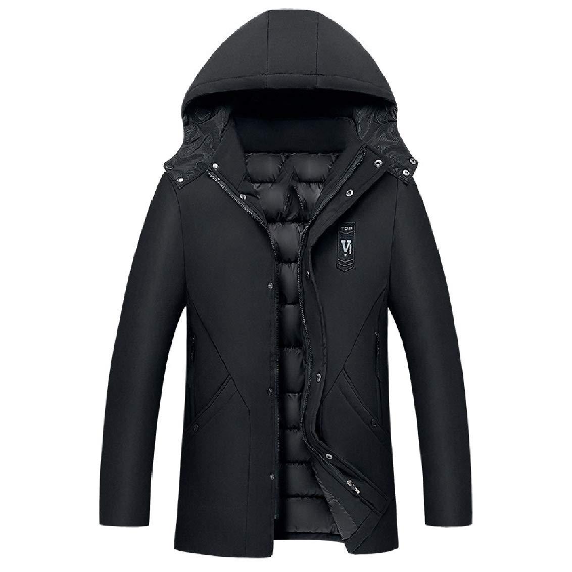 Freely Mens Mid-Long Outwear Winter Keep Warm Trim-Fit Hood Anorak Jacket