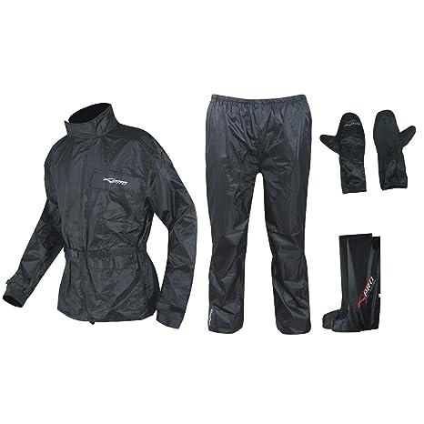 A-Pro Regenanzug Ganzk/örper Wasserdicht Handschuhe Stiefel Motorradkombi Schwarz M
