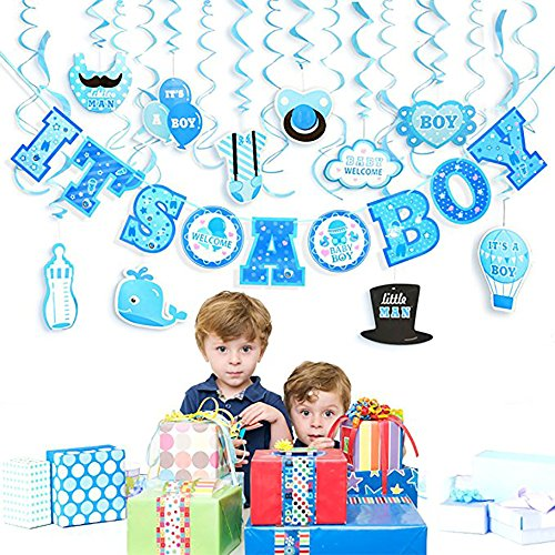 Boy Baby Shower Decorations + Included eBook | 31 Pcs Set Includes: It's a Boy Banner (10 feet) + Hanging Decorations in Blue, Cute and Classic Decor | Perfect to (Blue Safari Baby Shower Ideas)