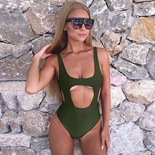 29220417aeea0 Zaoqee Women's High Cut Backless Swimsuit Sexy Monokini Thong One Piece  Bathing Suit