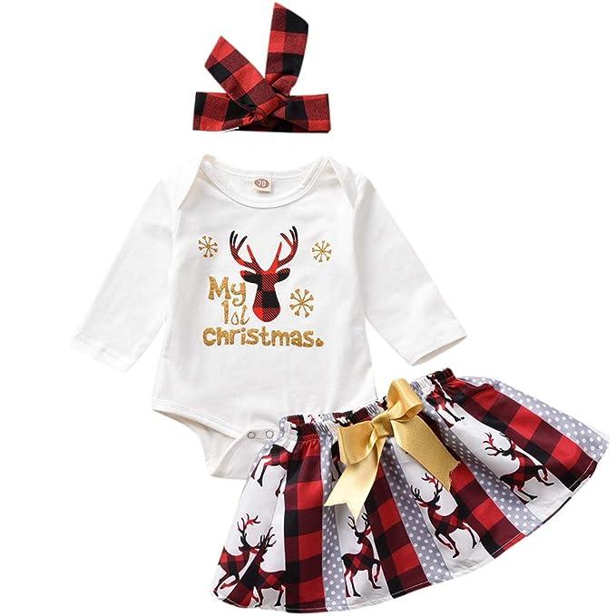 Amazon.com: Bebé Niña Ropa Mi primera Navidad Body + Falda a ...