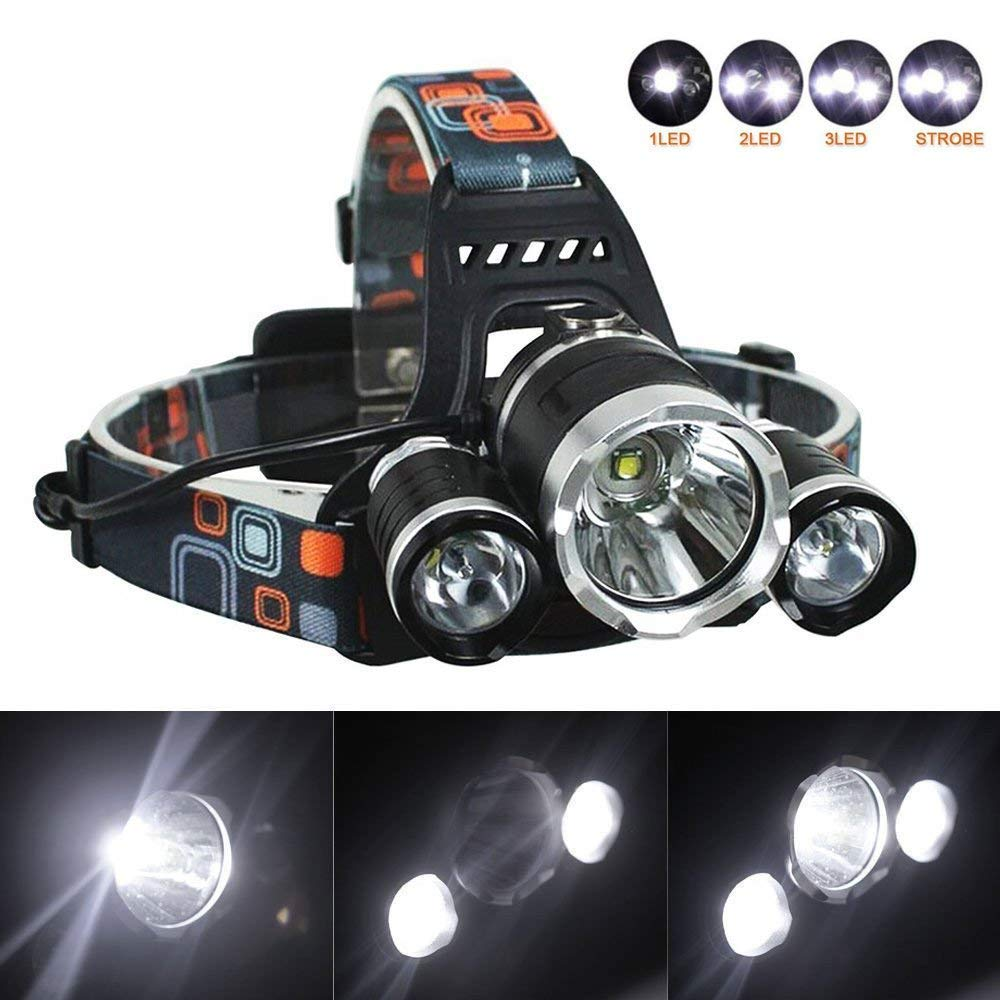 6000Lm LED Headlight Torch Cree T6 Rechargeable Headlamp Battery