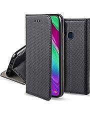 Moozy Flip Fodral för Samsung A40 Svart Skal Korthållare - Smart Magnetiskt Skyddande Flipfodral Klassiskt Telefonskal Flip Case Cover med Korthållare och Stativ