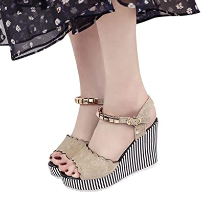 5b6157f2 Amazon.com | Fheaven Women Peep Toe Rhinestone Platform High Heels Stripe  Side Sandals Buckle Pendant Wedge Sandals Slip-On | Loafers & Slip-Ons