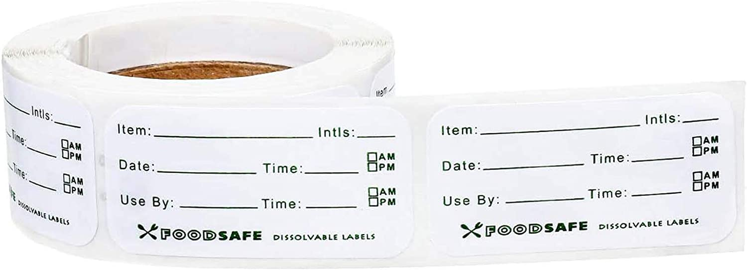1 x 2 Inch Food Storage Labels Adhesive Removable Food Labels Food Storage Freezer Sticker for Kitchen Containers Home Restaurant Food Date Safe Supplies(300 Pieces)