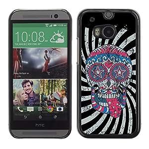 YOYO Slim PC / Aluminium Case Cover Armor Shell Portection //Cool Crazy Psycho Hipster Sugar Skull USA Flag //HTC One M8