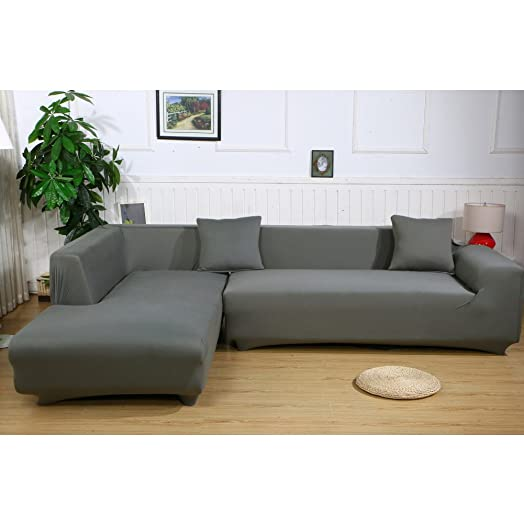 Sofa Cover with Solid Color Elastic Polyester Stretch Fabric Sofa