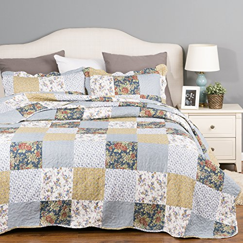 Bedding Quilt Set Luxury Bedroom Bedspread Plaid Floral Patchwork Twin Size 68