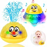 ZHENDUO Bath Toys, 2 in 1 Induction Spray Water Toy & Space UFO Car Toys with LED Light Musical Fountain Toy Automatic…