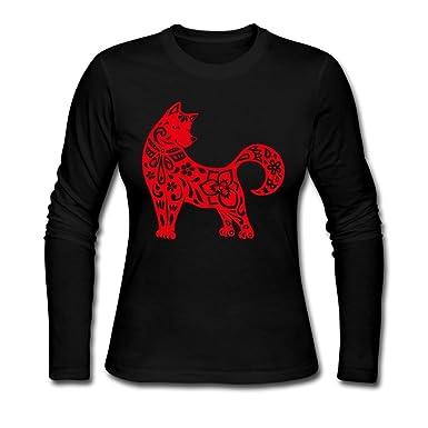 2d0966b07e7a SeeSeasan Womens Long Sleeve T Shirt Chinese Dog Year Red Novelty Tee Tops