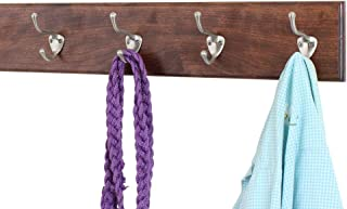 product image for Solid Cherry Wall Mounted Coat Rack with Satin Nickel Wall Coat Hooks - Made In the USA