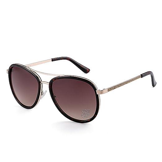 bac8ad90b Amazon.com: Sunglasses for Women Aviator Classic Fashion Metal Diamonds  Glasses 646 (lens:brown gradient/ frame:tortoise brown/ temple:gold):  Clothing