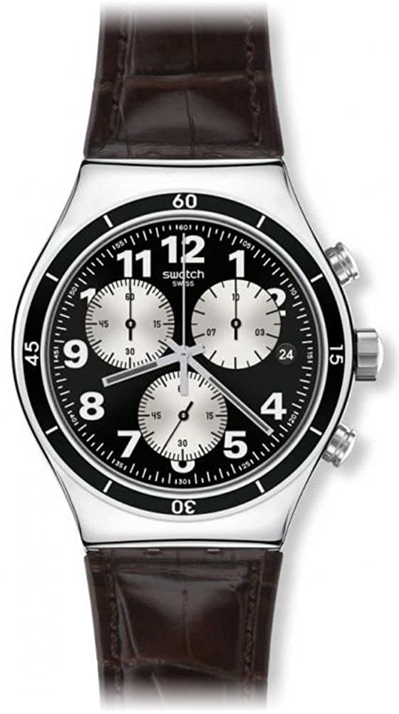 Amazon.com: Swatch Irony Browned Chronograph Black Dial Leather Strap Mens Watch YVS400: Swatch: Watches