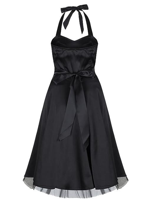 1950s Vintage Style Black Silky Satin Halterneck Party Prom Dress: Amazon.co.uk: Clothing