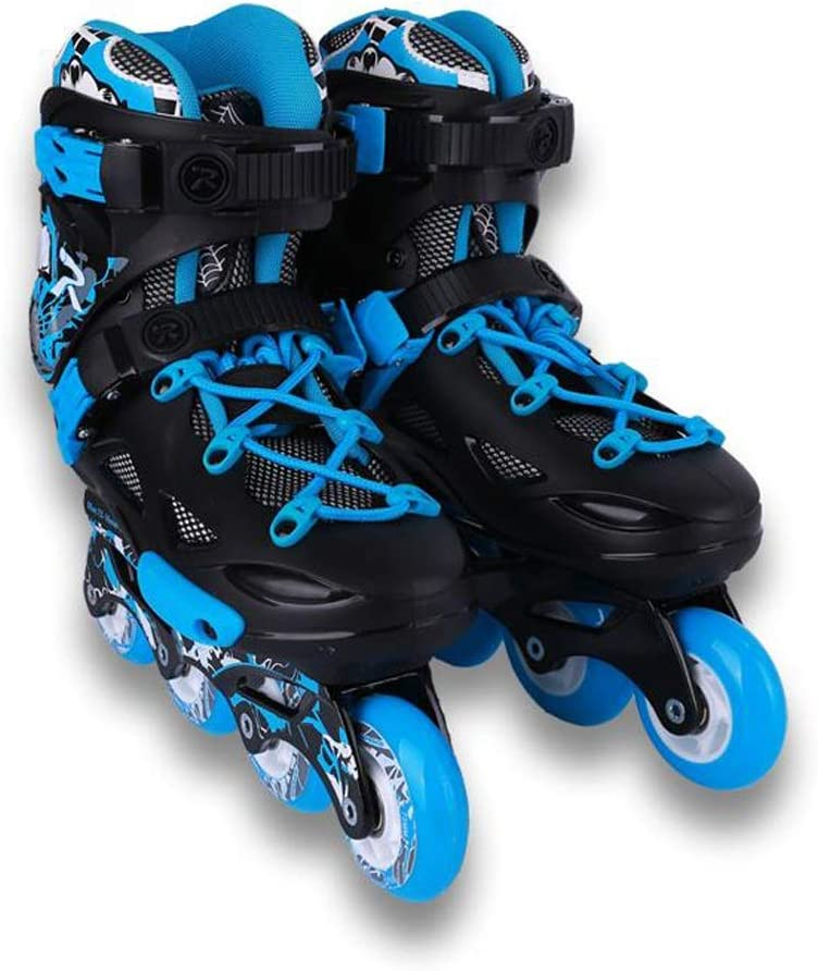 ZHANGHAIMING 大人のためのインラインスケート、男性と女性のアウトドアスポーツローラーシューズ、初心者のための快適な通気性のローラースケート、青と白 (Color : A, Size : EU 36/US 4.5/UK 3.5/JP 23cm)