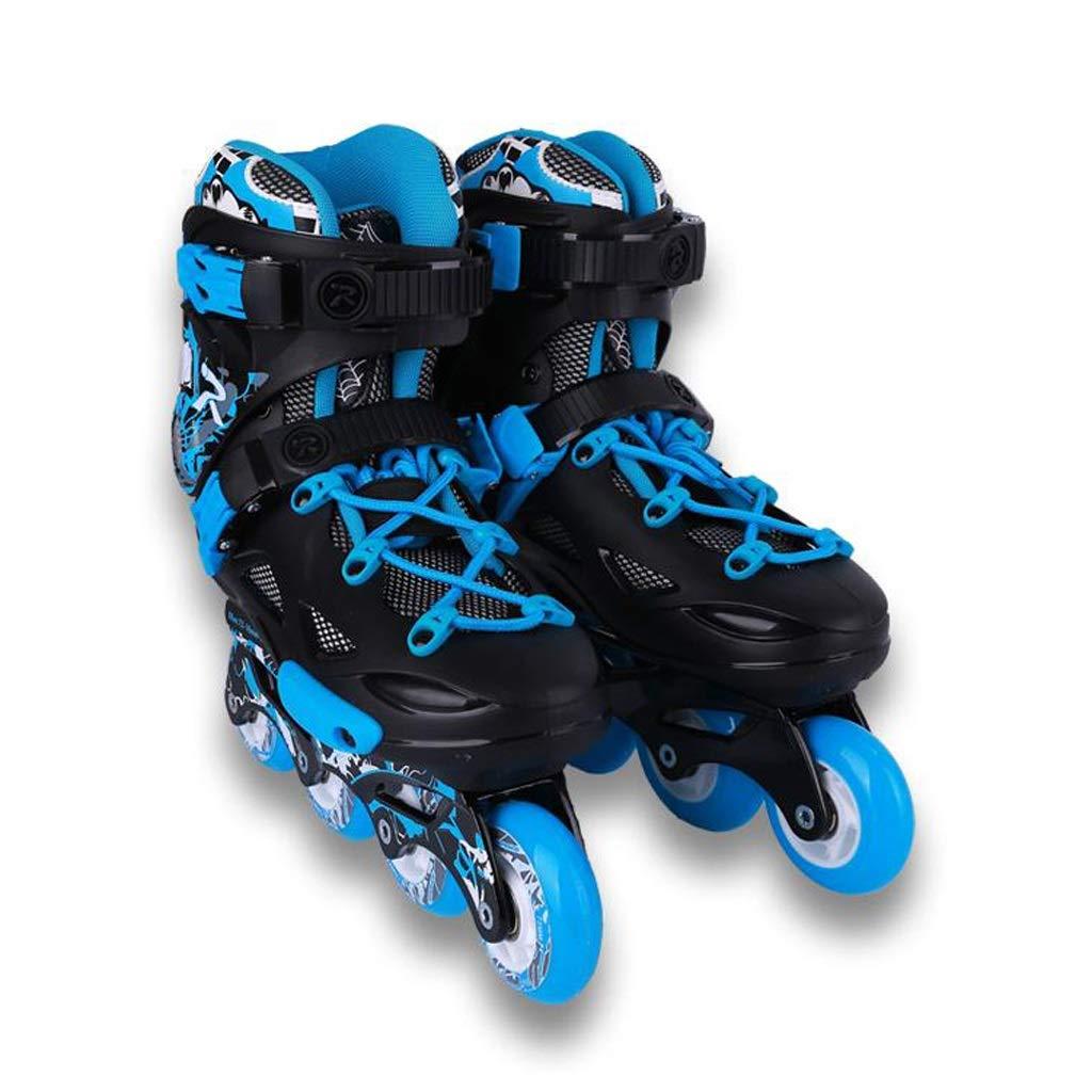 ZHANGHAIMING 大人のためのインラインスケート、男性と女性のアウトドアスポーツローラーシューズ、初心者のための快適な通気性のローラースケート、青と白 (Color : A, Size : EU 43/US 10/UK 9/JP 26.5cm)