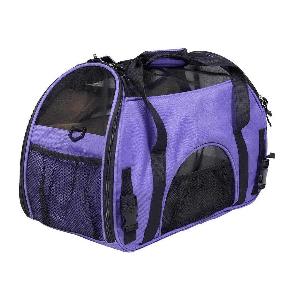 Purple SwanshenGyi Large Capacity Pet Carrier Backpacks,Travel Breathable Pet Carrier Portable Handbag Shoulder Bag for Cats Small Dogs Black L