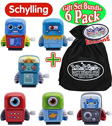 Robot Exclusive (Schylling Mini Tin Robots Wind-Ups Complete Gift Set Party Bundle with Exclusive Matty's Toy Stop Storage Bag - 6 Pack)