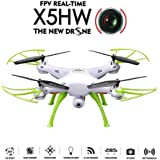 Syma X5HW (upgrade of Syma X5SW) 2.4GHz 6-Axis Gyro Wifi FPV With HD Camera RC Quadcopter Drone includes an effective altitude hold feature to flying very easy for beginers (Color:White)