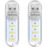 LEDMOMO 2 stuks mini beweegbaar helder 3 LED nachtlampje USB lamp (warm wit)