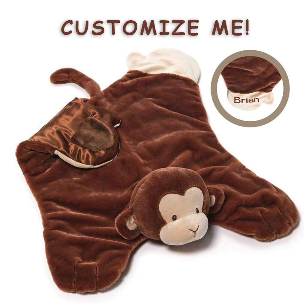 GUND Baby Personalized Nicky Noodle Monkey Comfy Cozy Stuffed Animal Plush Blanket, 24'' by GUND