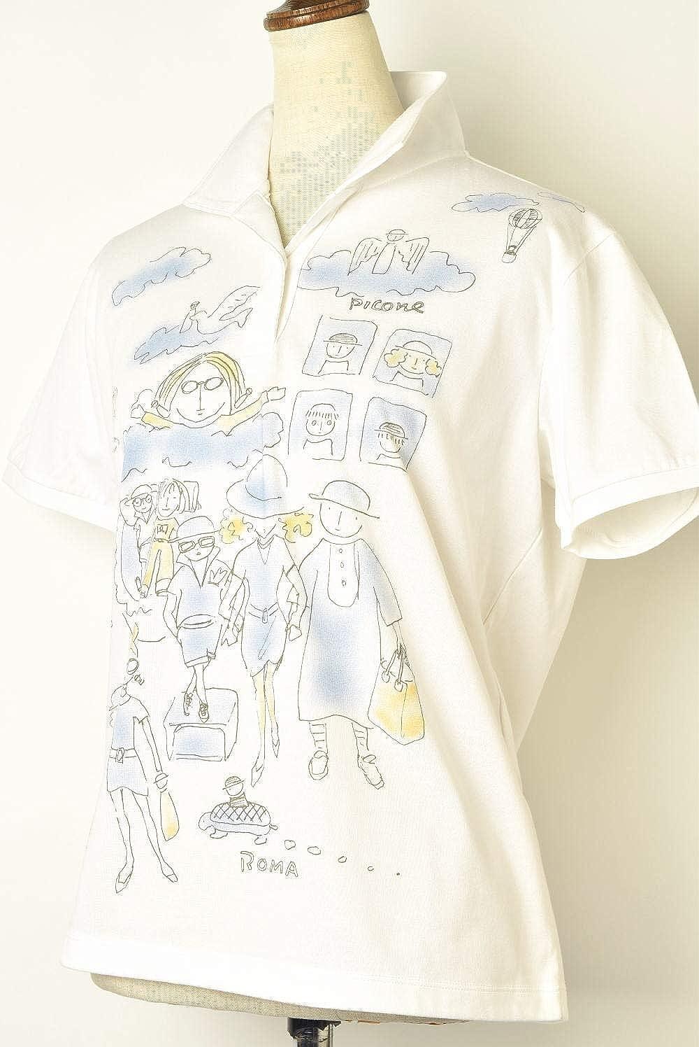 (ピッコーネ クラブ) PICONE CLUB 半袖ポロシャツ レディース ゴルフ c859504 M(01) ホワイト×ブルー(196) B07TD2BCW7