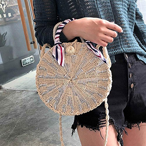 Silver Bag Straw Bag Bag amp; Handwoven FOONEE Bag Tote Bag Straw Weaved for Round Crossbody Shoulder wX6ZwHEqxg