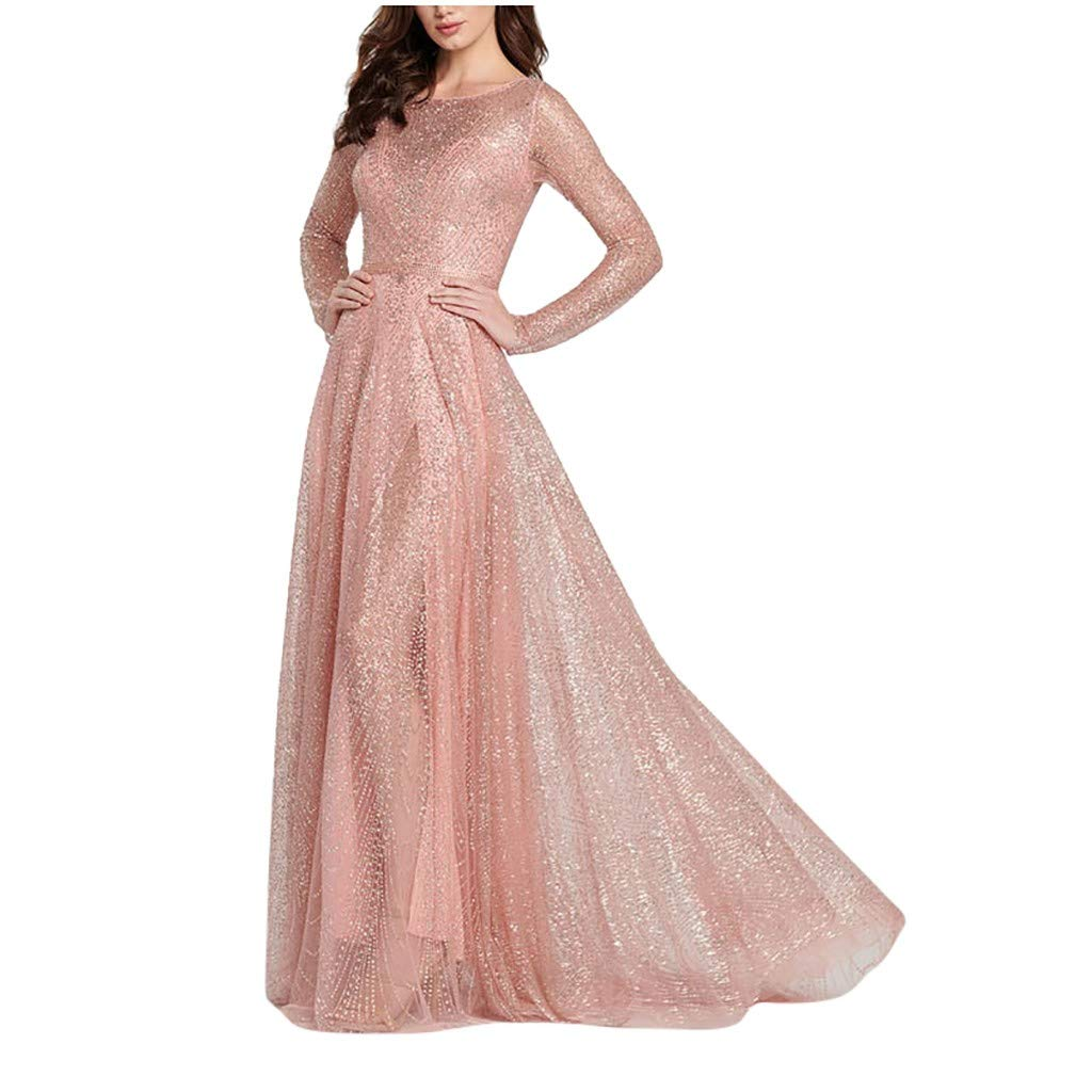 TRENDINAO Elegant Party Maxi Dress,Women Crew Neck Long Sleeve Solid Gradient Grace Ankle-Length Vintage Dresses Pink by TRENDINAO