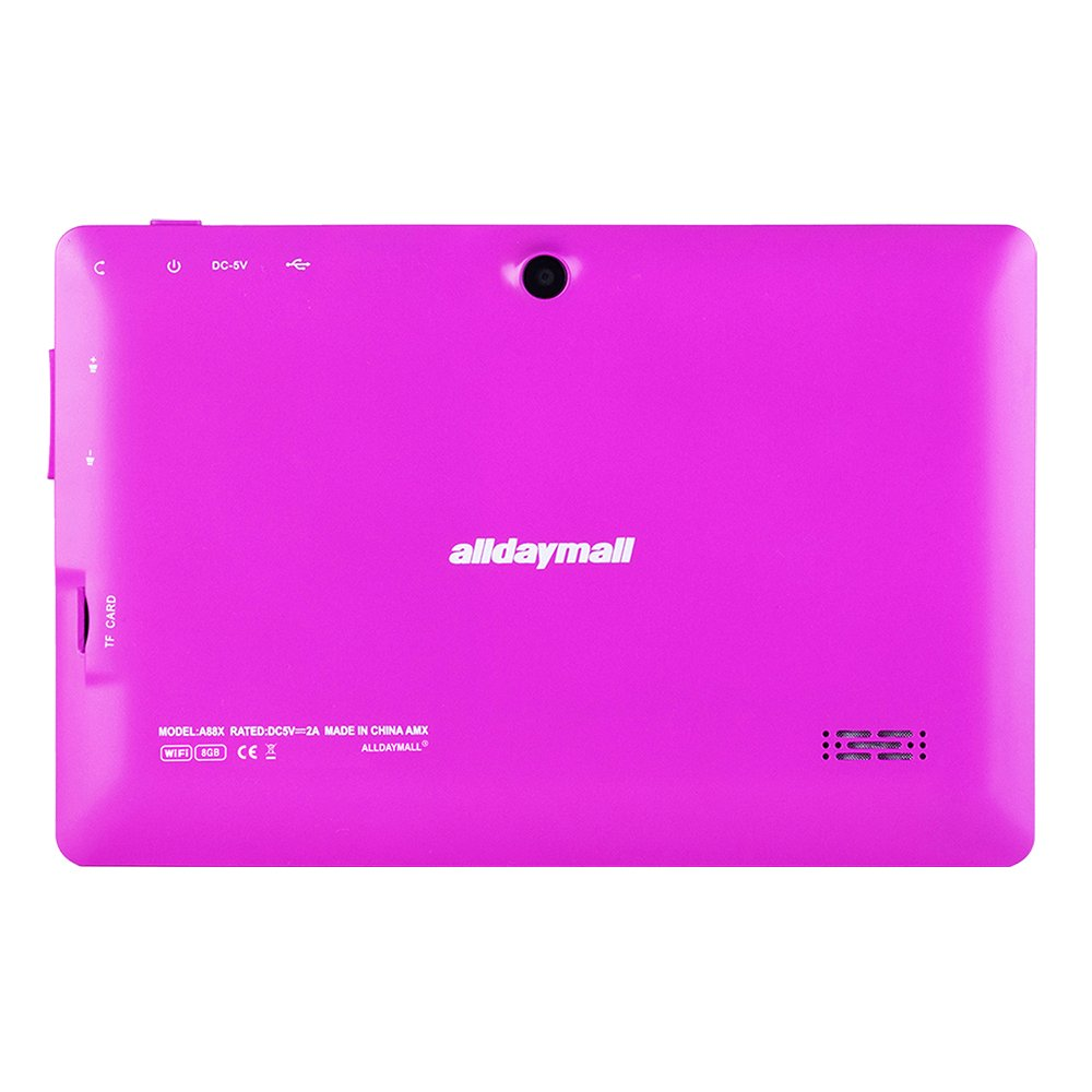 Alldaymall Tablets With Android 7'' Touchscreen Dual Camera, 1024x600  Resolution, Netflix, Skype, 3D Game Supported- Purple