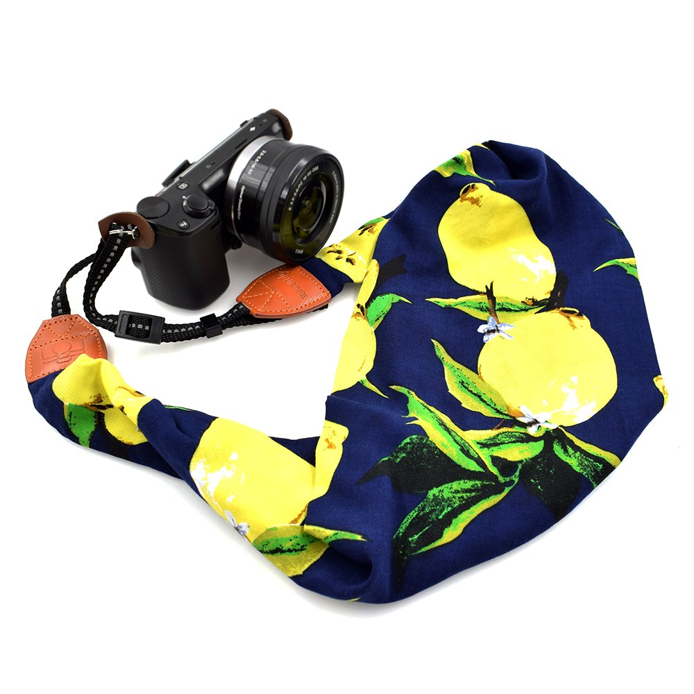 LIFEMATE Scarf Camera Strap,DSLR Camera Strap Universal Neck Strap,Fabric Of Bohemia Floral Scarf Camera Strap (Colorful Lemon)