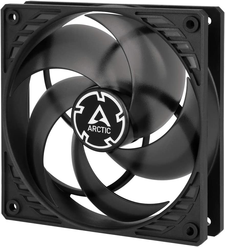 ARCTIC P12 PWM - 120 mm Case Fan with PWM, Pressure-optimised, Very Quiet Motor, Computer, Fan Speed: 200-1800 RPM - Black/Transparent