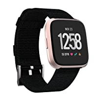 Adepoy Compatible with Fitbit Versa Bands, Soft Breathable Woven Fabric Adjustable Wristbands for Fitbit Versa/Versa Lite Edition/Versa 2,Women Men Small Large