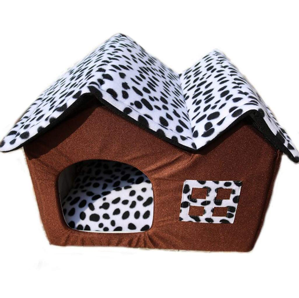 BROWN Removable Winter Soft Cozy Sleeping Bag Pad Cushions Four Seasons Kennel Double Roof Pet Nest (color   Brown)