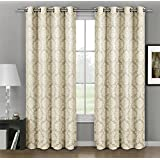 Aryanna Beige Top Grommet Jacquard Window Curtain Panel, Set of 2 Panels, 108x84 Inches Pair, by Royal Hotel