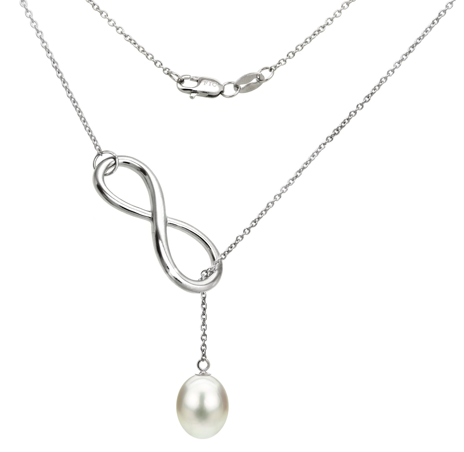 Sterling Silver Infinity Chain Necklace with 8-8.5mm White Long Shape Freshwater Cultured Pearl, 18'' by La Regis Jewelry