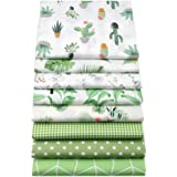 """YYSZ 8Pcs Green 18"""" x 22"""" Fat Quarters Fabric Bundles for Patchwork Quilting,Pre-Cut Quilt Squares for DIY Sewing…"""