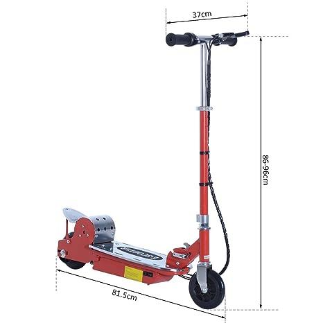 HOMCOM Patinete Eléctrico Scooter Plegable con Manillar y Tipo Monopatín con Freno y Caballete 120W Carga 50kg 81.5x37x96cm