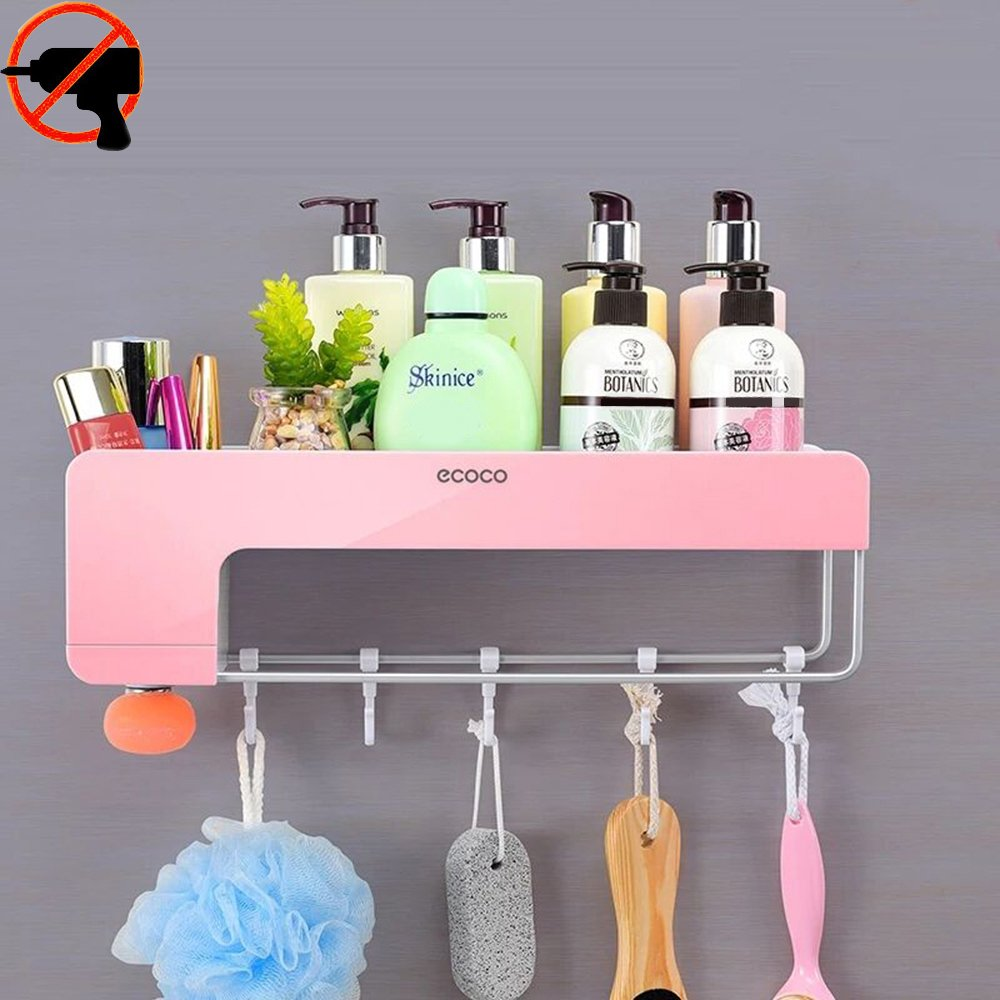 Adhesive Bathroom Shelf Organizer Shower Caddy Floating Wall Rack for Shampoo Combo Conditioner Makeup and Kitchen Storage Organizer with Towel Bar, Magnetic Soap Holder and Hanger Hooks(Pink)